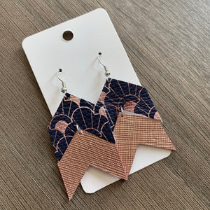 Navy And Rose Gold Chevron Leather Earrings