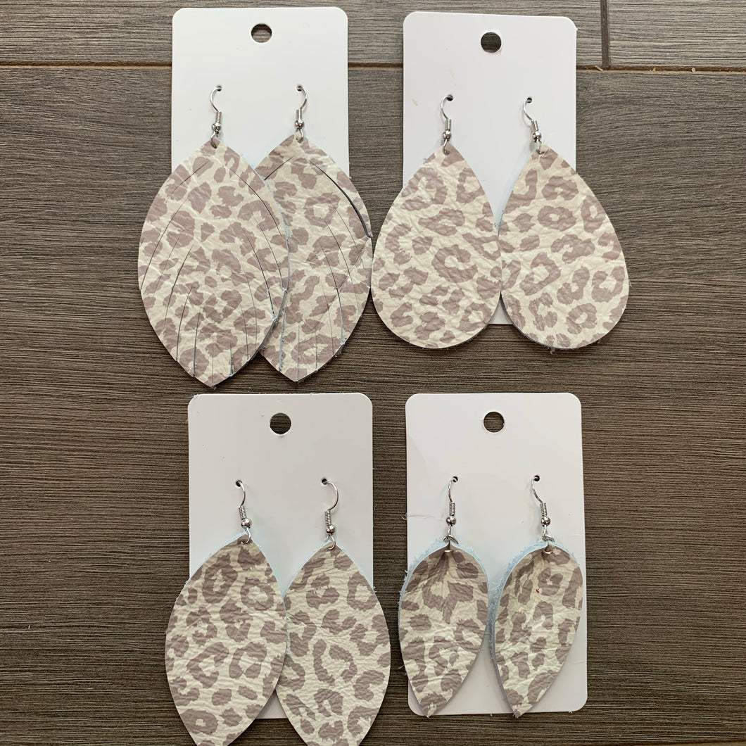 Gray Beige Animal Print Leather Earrings