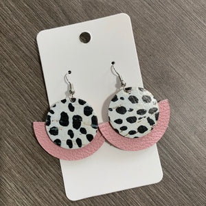Cork Spotted Pink Circle Leather Earrings