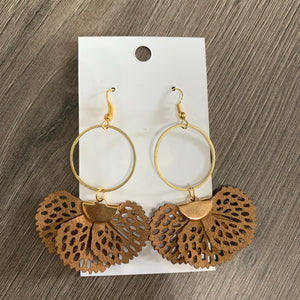 Brown Fabric Brass Drop Earrings