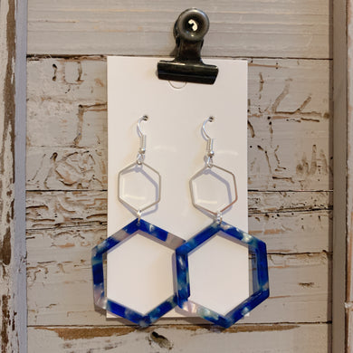 Silver and Blue Tortoise Hexi Drop Earrings