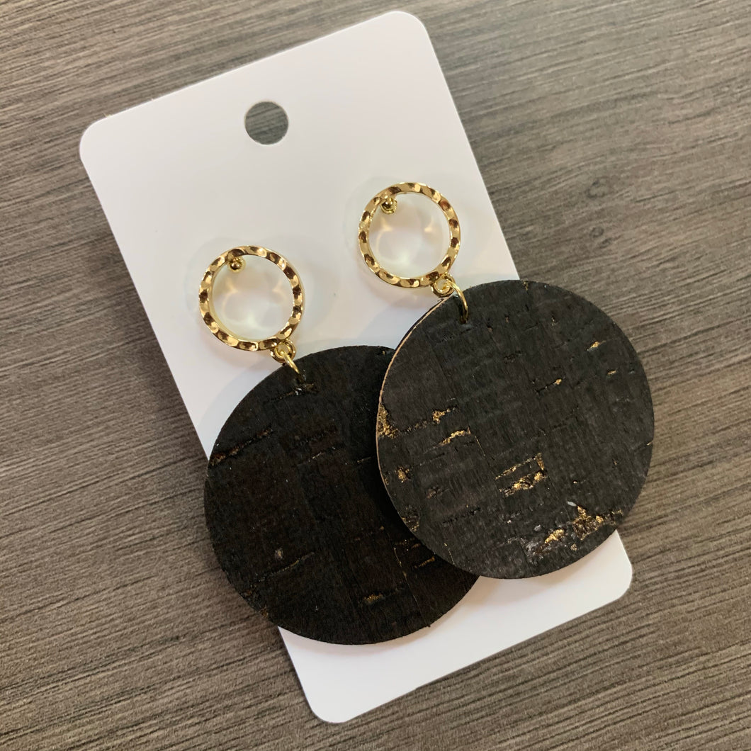 Black Gold Speck Cork Post Leather Earrings