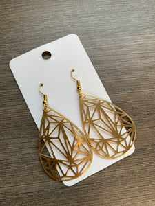 Brass Geo Teardrop Earrings
