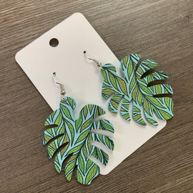 Green Monstera Leaf Leather Earrings