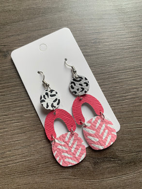 Black White and Pink Mix it Up Drop Leather Earrings