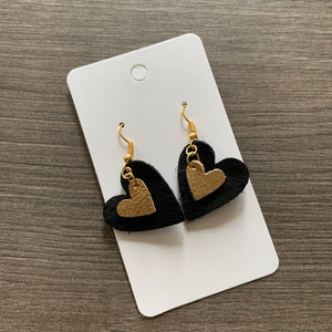 Small Black and Gold Heart Leather Earrings