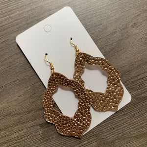 Gold Pebble Moroccan Leather Earrings