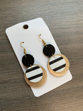 Black and Gold Circle Drop Leather Earrings