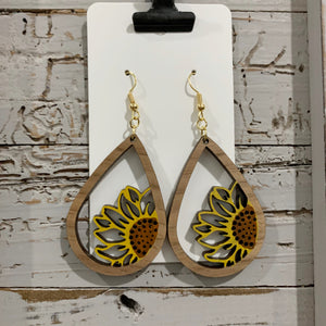 Wood Sunflower Painted Earrings