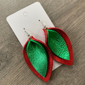 Christmas Double Petal Leather Earrings