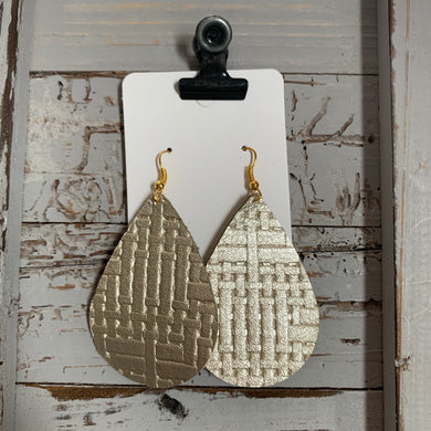 Light Gold Weave Teardrop Leather Earrings