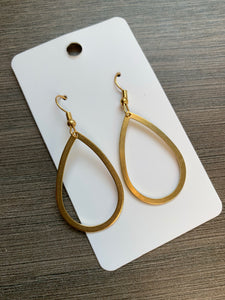 Small Brass Teardrop Earrings
