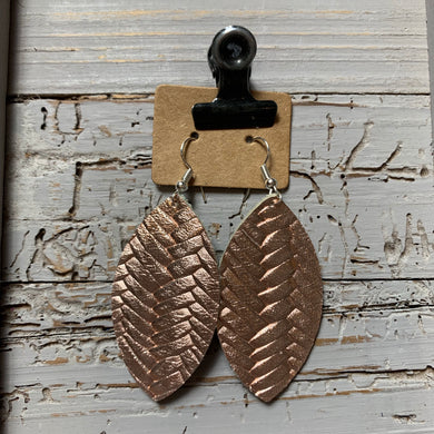 Rose Gold Braided Leaf Leather Earrings