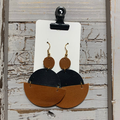 Brown and Black Circle Drop Leather Earrings