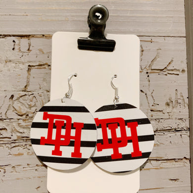 Dixie Heights Striped Logo Leather Earrings