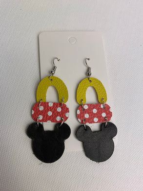 Mickey Inspired Drop Leather Earrings