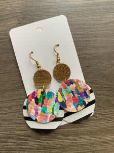 Confetti and Stripes Circle Drop Leather Earrings