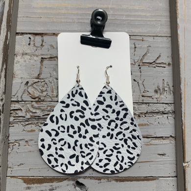 Black and White Teardrop Snow Leopard Leather Earrings