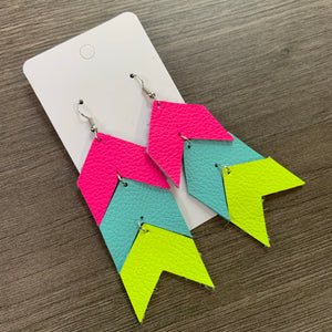Neon Triple Chevron Leather Earrings