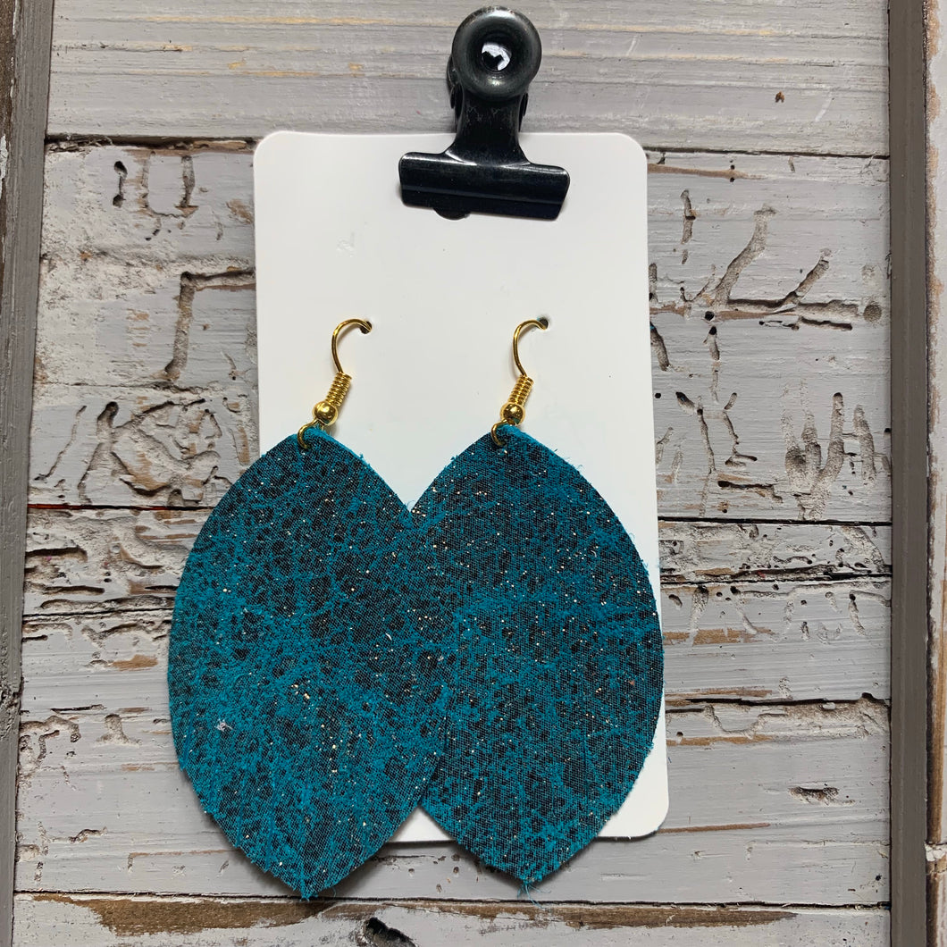 Teal Gold Fleck Fringe Leather Earrings