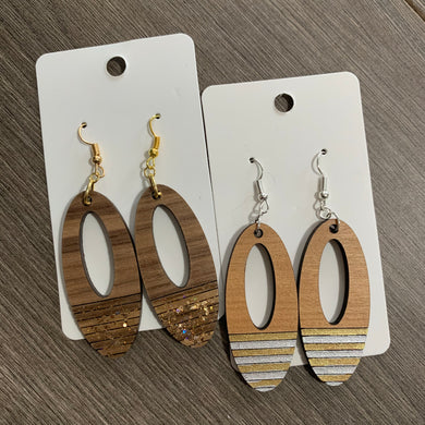 Customized Wood Oval Painted Earrings