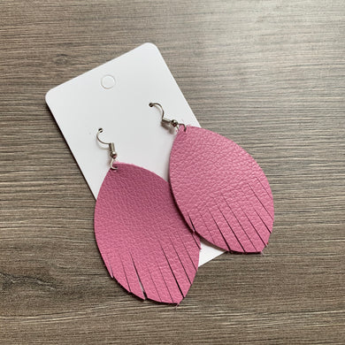 Mauve Fringe Leather Earrings