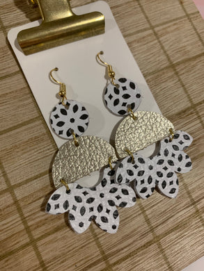 Black White and Light Gold Drop Leather Earrings
