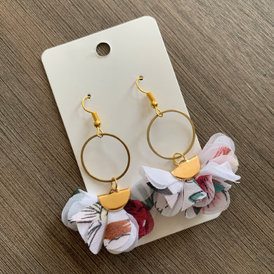 White Floral Fabric Drop Earrings