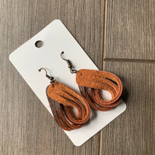 Small Sculpted Teardrop Leather Earrings