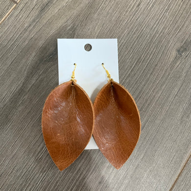Large Brown Wide Petal Leather Earrings