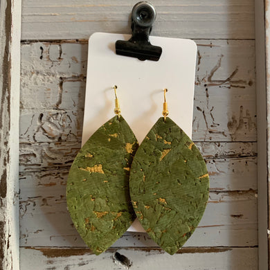 Green and Gold Speck Leaf Cork Leather Earrings