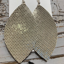 Silver Gold Dot Leaf Leather Earrings