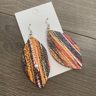 Fall Boho Leaf Leather Earrings
