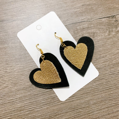 Black and Gold Heart Leather Earrings