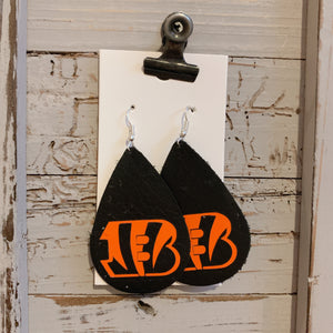 Ben gals Black Teardrop Leather Earrings