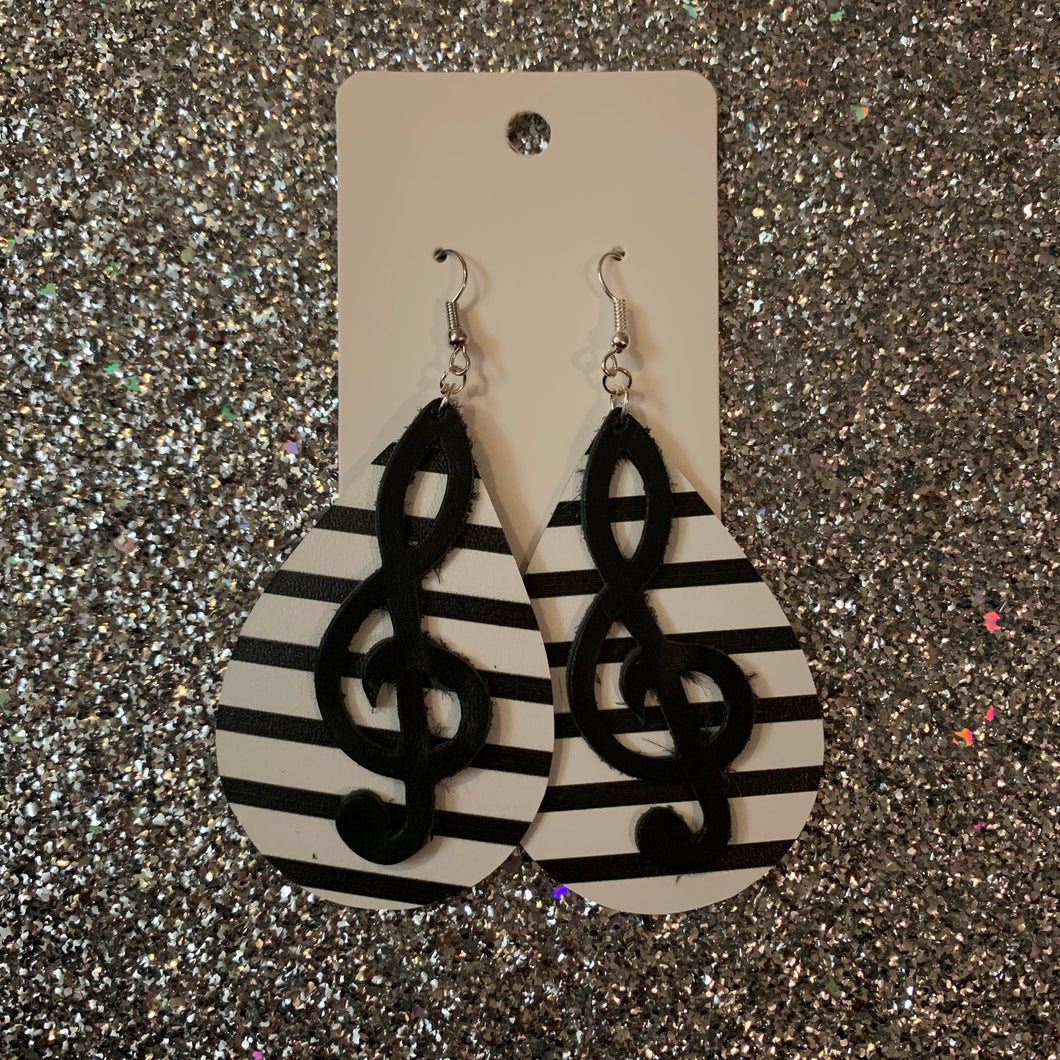 Music Band Double Layer Teardrop Leather Earrings