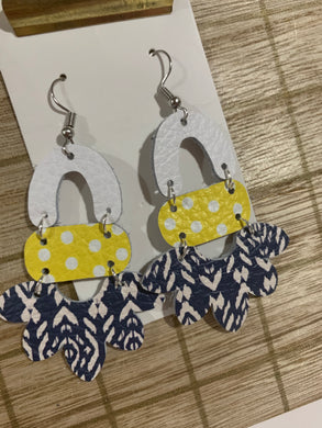 Blue and Navy Drop Leather Earrings