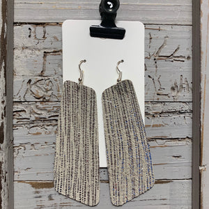 Large Oblong Silver Shimmer Striped Leather Earrings
