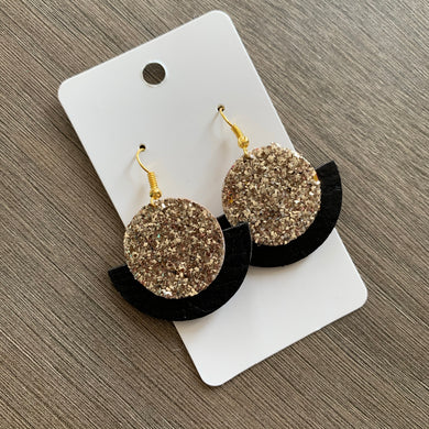 Black and Gold Glitter Small Circle Leather Earrings