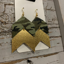 Camo and Gold Chevron Leather Earrings