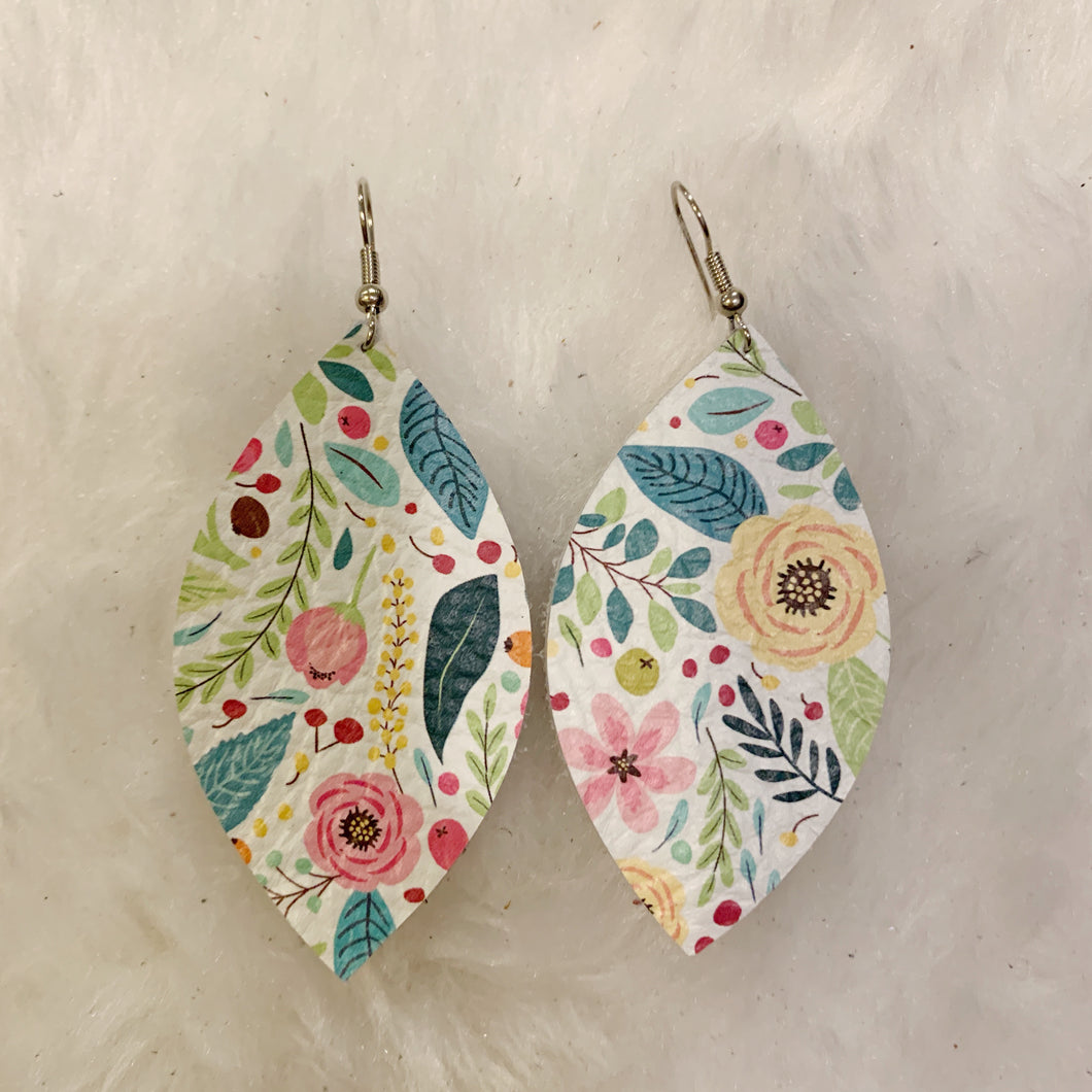 White Fun Floral Leaf Leather Earrings