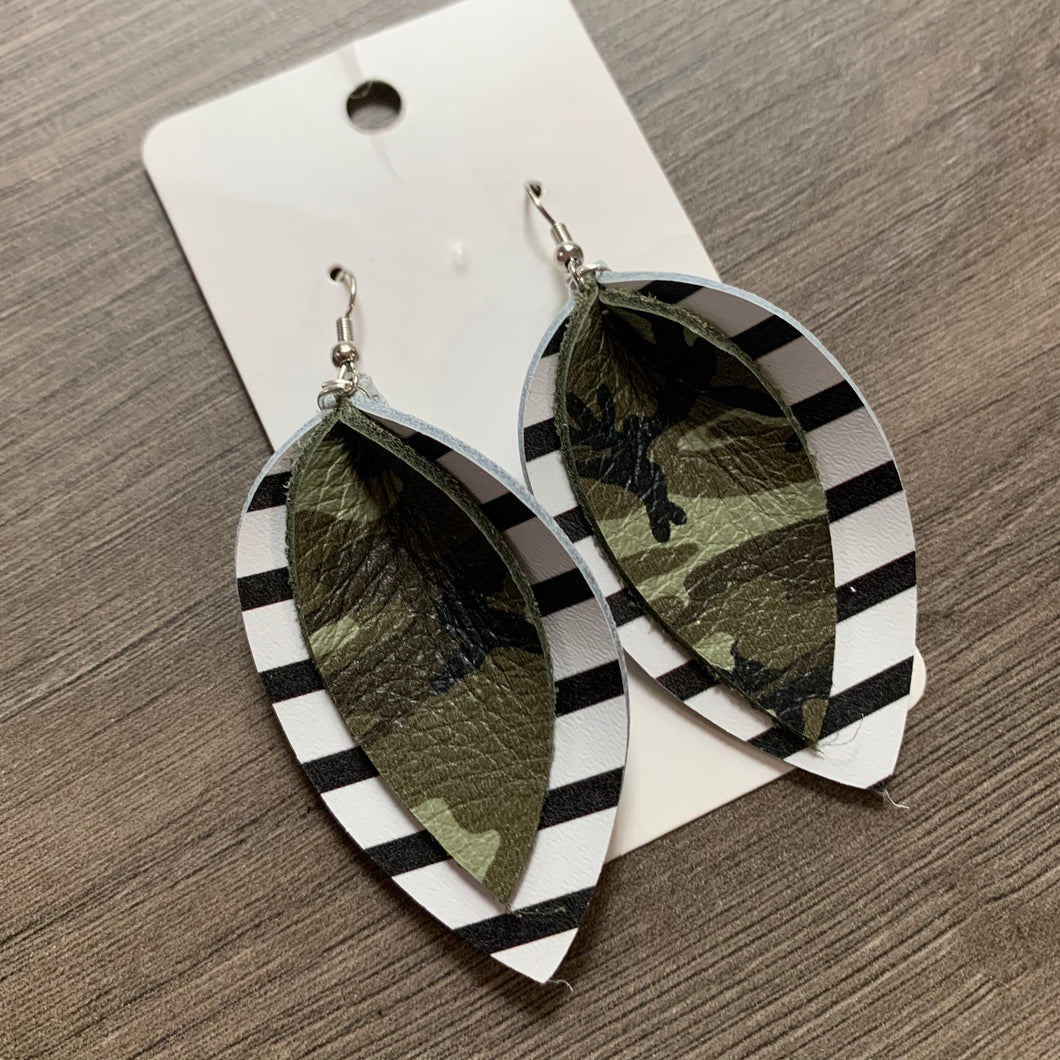 Black and White Camo Striped Double Petal Leather Earrings