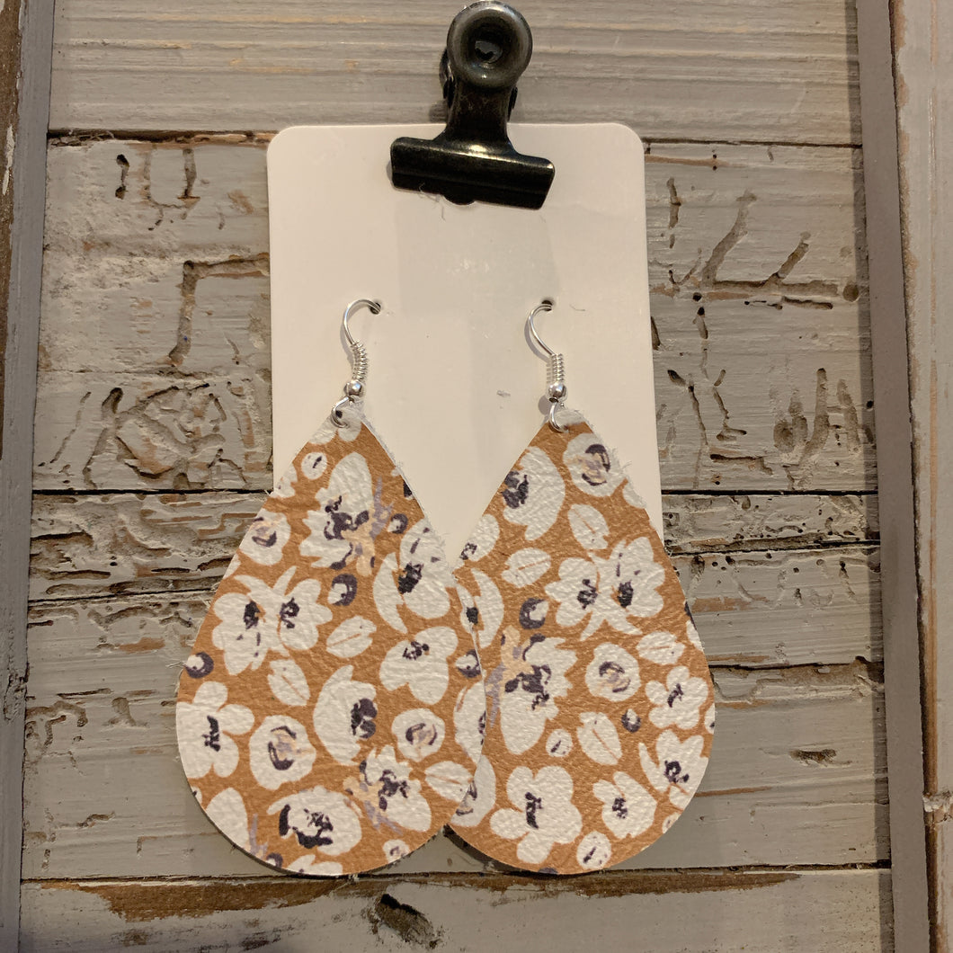 Mustard Flower Teardrop Leather Earrings