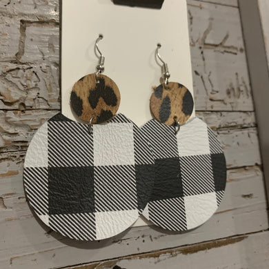 Animal Print Buffalo Plaid Circle Drop Leather Earrings