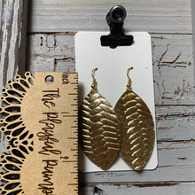 Bright Gold Braided Leaf Leather Earrings