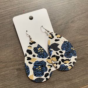 Blue Cheetah Floral Cork Leather Earrings