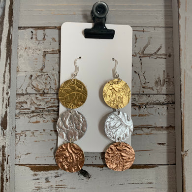 Mixed Metal Circle Drop Leather Earrings