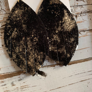 Black and Gold Leaf Fringe Leather Earrings