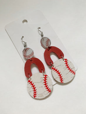 Baseball Drop Leather Earrings