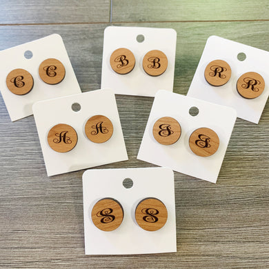 Wood Single Initial Monogram Stud Earrings